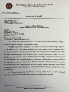 The Altman Law Firm - Press Release Million Dollar Advocates Forum