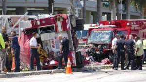 Fire Rescue Collision Near Jackson Memorial Hospital